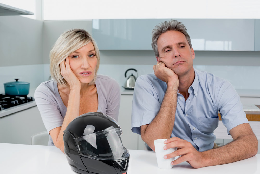 Frustrated Motorcycle Owner and his nagging shrew of a wife