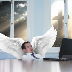 Guy Already Pretty Bored in Heaven