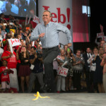 Jeb Bush Completely Unaware of Banana Peel on Stage