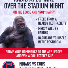 Cleveland Indians to Host 'Rabid Apes Take Over the Stadium Night'