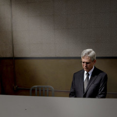 Merrick Garland Sitting Alone in Dimly Lit Capitol Waiting Room for 101st Straight Day