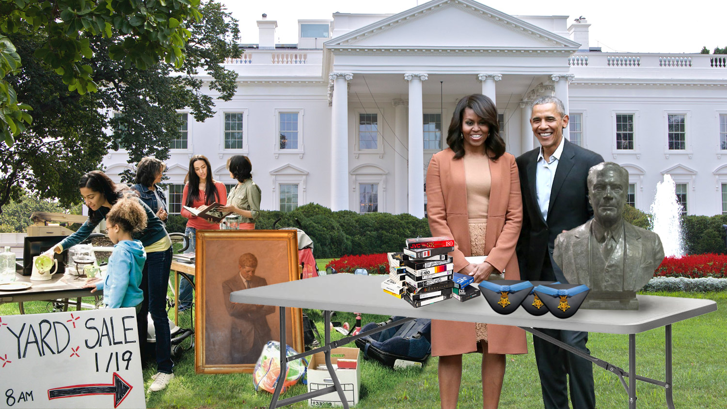 Barack and Michelle Obama Host Their Annual Yard Sale Outside the White House