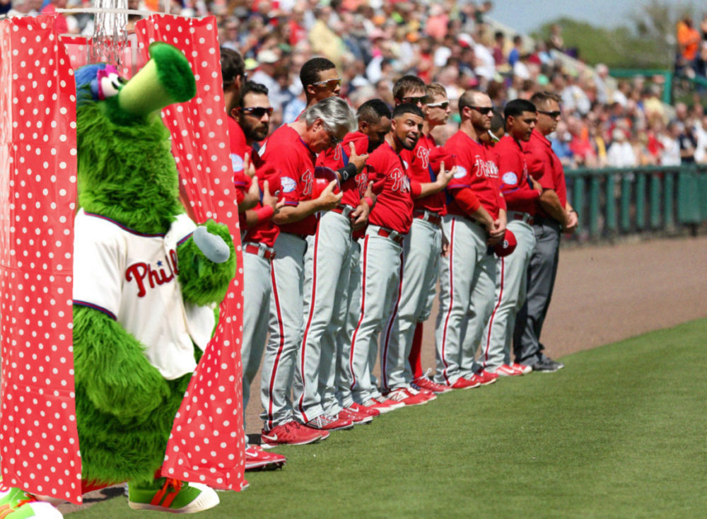 Phillie Phanatic Taking a Shower