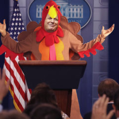 Dressed in Turkey Costume, Donald Trump Pardons Self