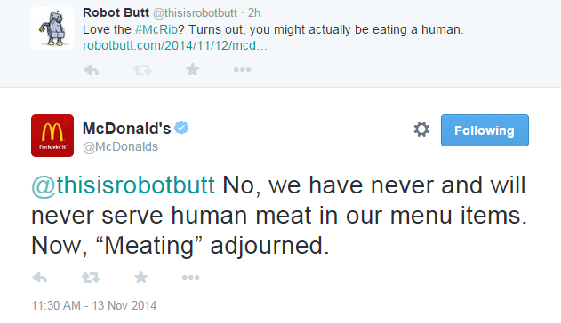 mcdonald s won t deny mcrib is made of people robot butt